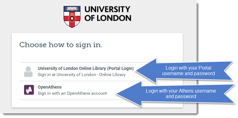 The 'Choose how to sign in' page, which gives you two options: University of London Online Library (Portal Login), which you click on to login with your Portal username and password, and OpenAthens, which you click on to login with your Athens username and password.