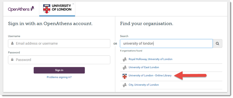 The page which asks you to sign in with an OpenAthens account, which also has a 'Find your organisation' option on the right side