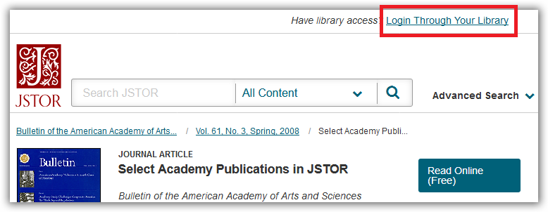 The JSTOR website before you have logged in.