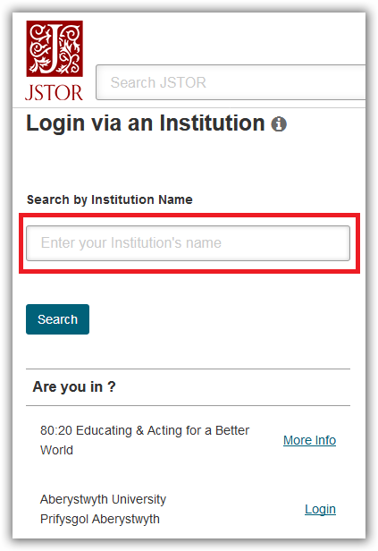 The 'Login via an institution' page on JSTOR.