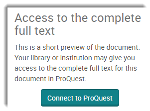 The 'Connect to ProQuest' button, underneath the heading: Access to the complete full text.