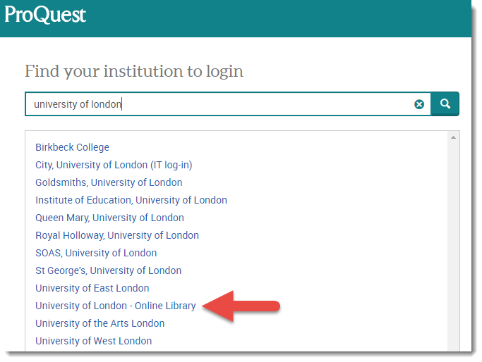 The Find your institution page on the ProQuest website.