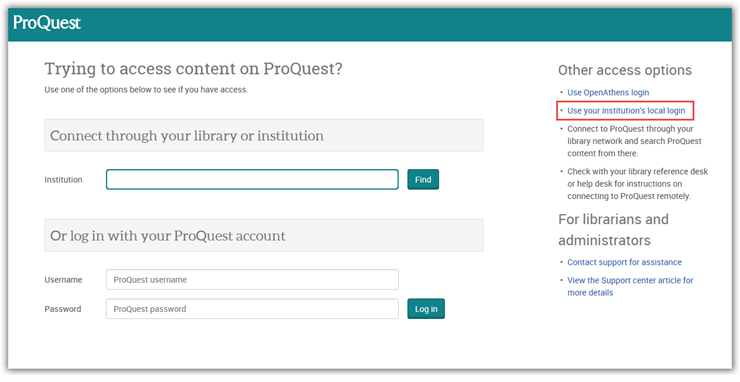 The ProQuest login page.