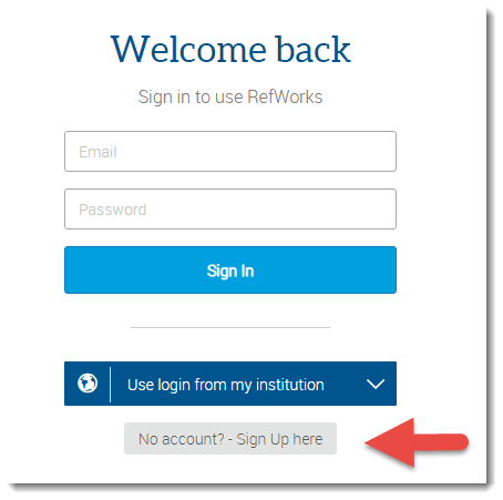 The RefWorks login page. The 'No account? Sign up here' button is near the bottom of the page.